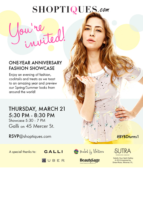 1 year anniversary party invitation shoptiques shoptiques youre invited to our 1 year anniversary party stopboris Image collections