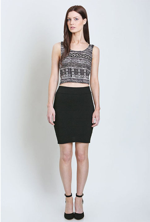 Shoptiques SlideShow Black and White Crop Top