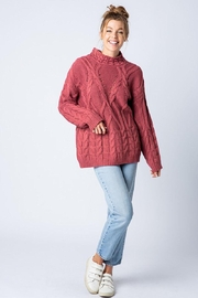 &merci Chunky Cable Knit Wide Mock Neck Pullover Sweater - Side cropped
