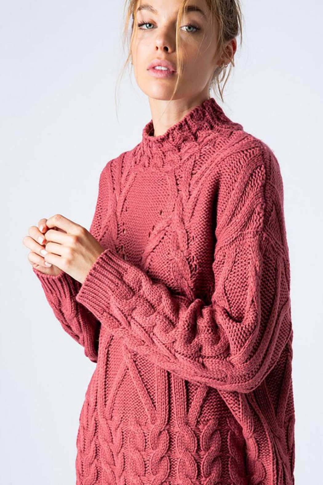 &merci Chunky Cable Knit Wide Mock Neck Pullover Sweater - Front Cropped Image