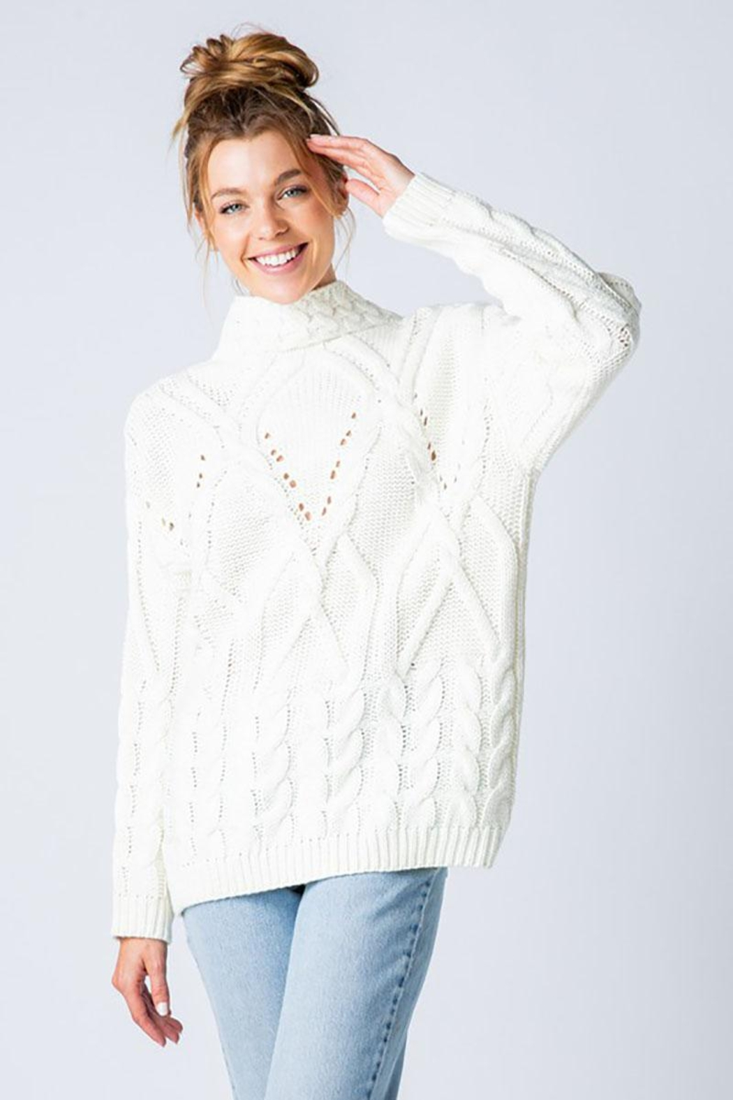 &merci Chunky Cable Knit Wide Mock Neck Pullover Sweater - Side Cropped Image