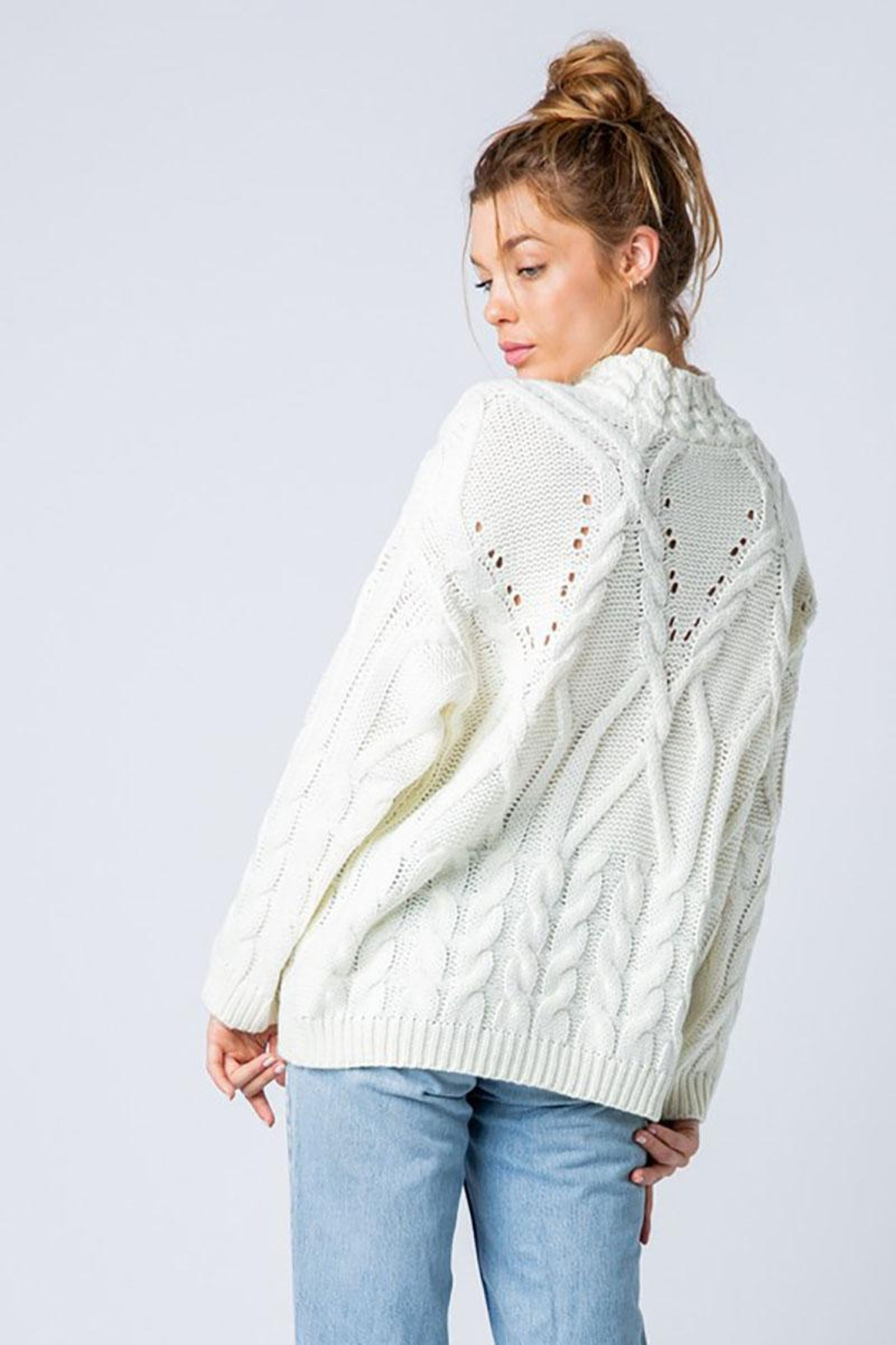 &merci Chunky Cable Knit Wide Mock Neck Pullover Sweater - Back Cropped Image
