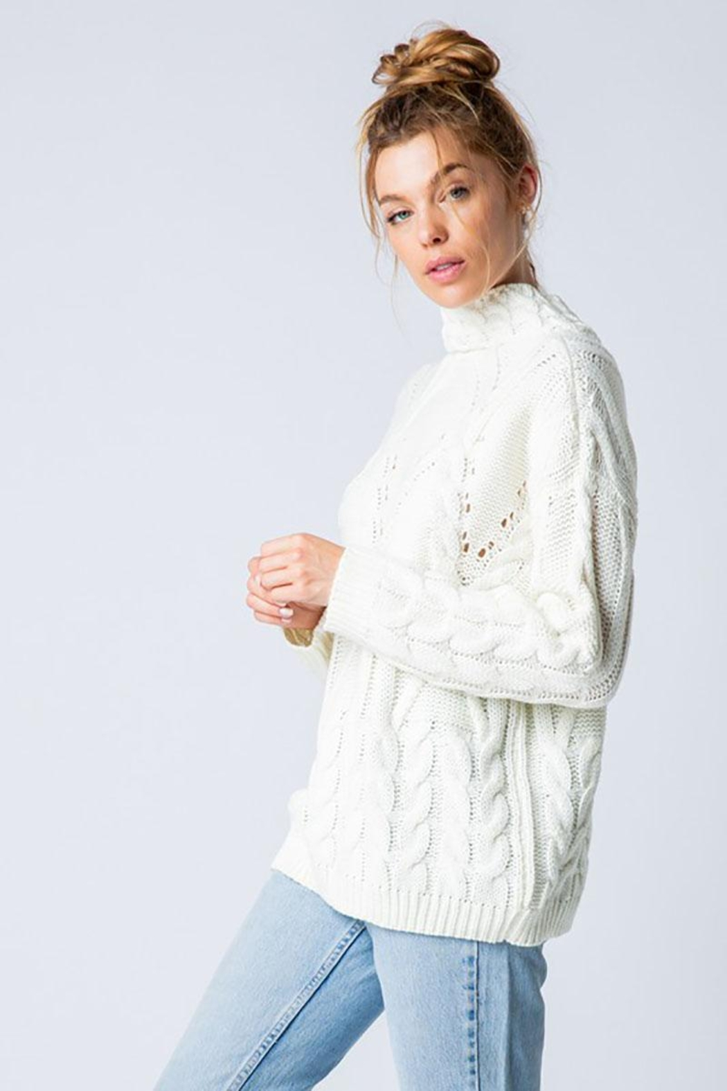 &merci Chunky Cable Knit Wide Mock Neck Pullover Sweater - Front Full Image