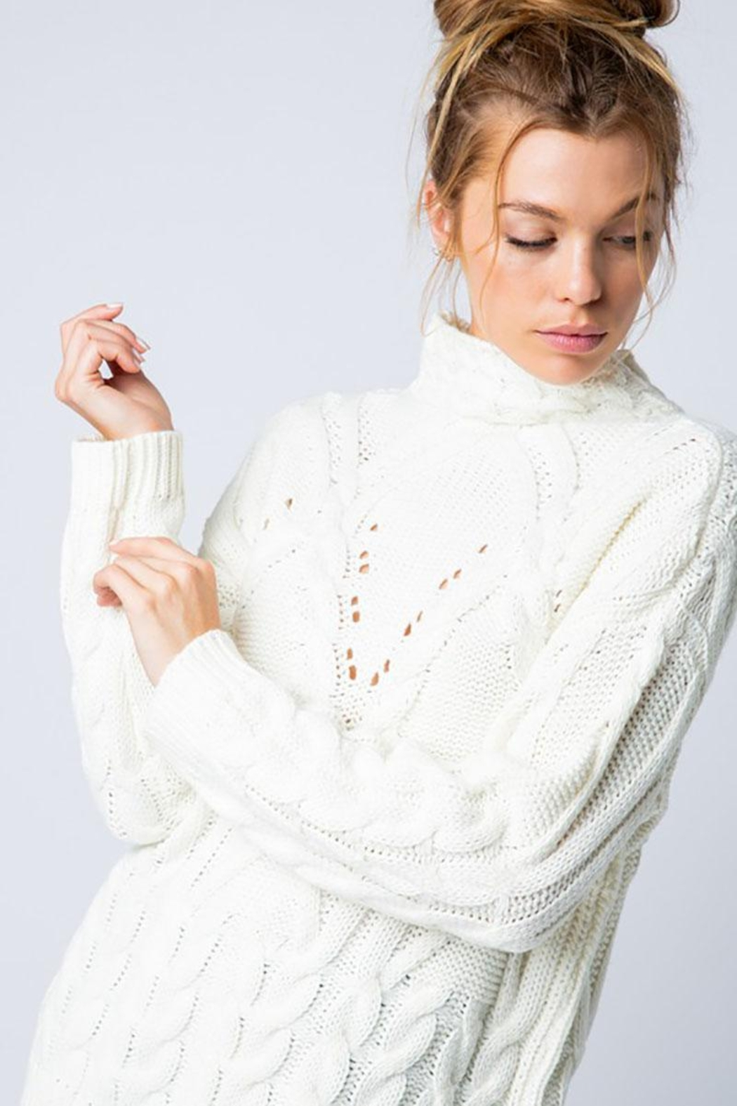 &merci Chunky Cable Knit Wide Mock Neck Pullover Sweater - Main Image