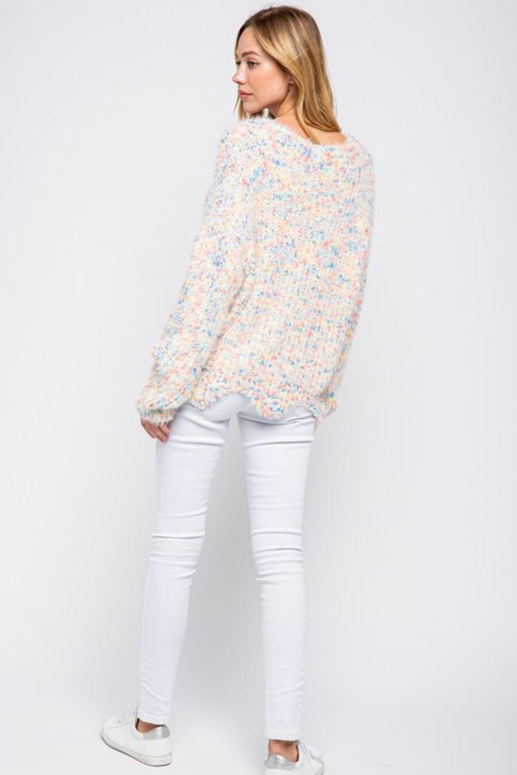 &merci Confetti Color Chenille Scalloped Hem Pullover Knit Sweater Jumper - Side Cropped Image