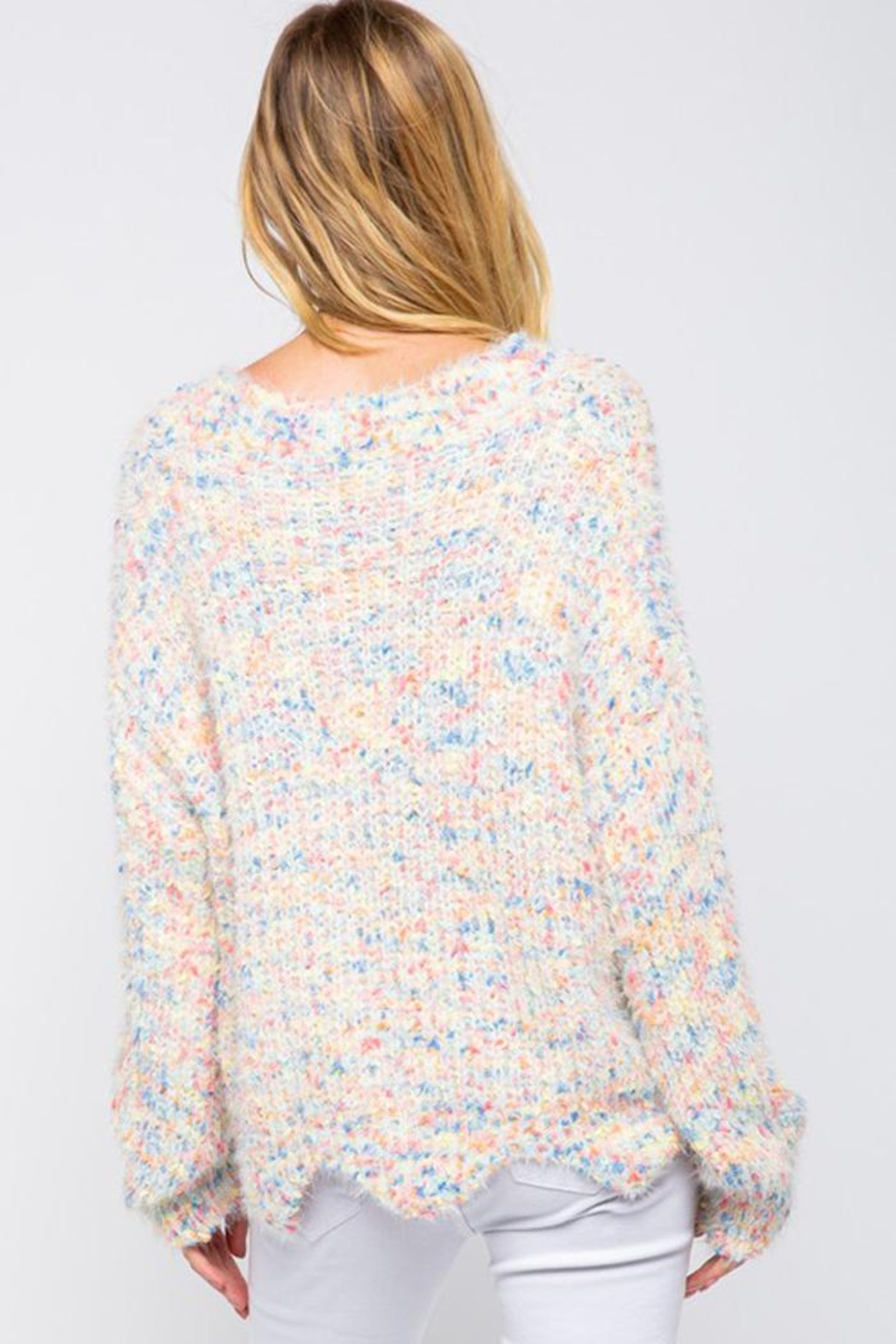 &merci Confetti Color Chenille Scalloped Hem Pullover Knit Sweater Jumper - Back Cropped Image