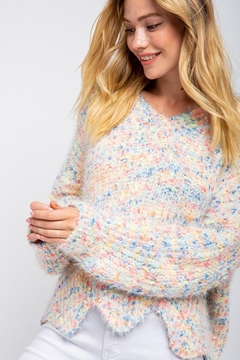 Shoptiques Product: Confetti Color Chenille Scalloped Hem Pullover Knit Sweater Jumper