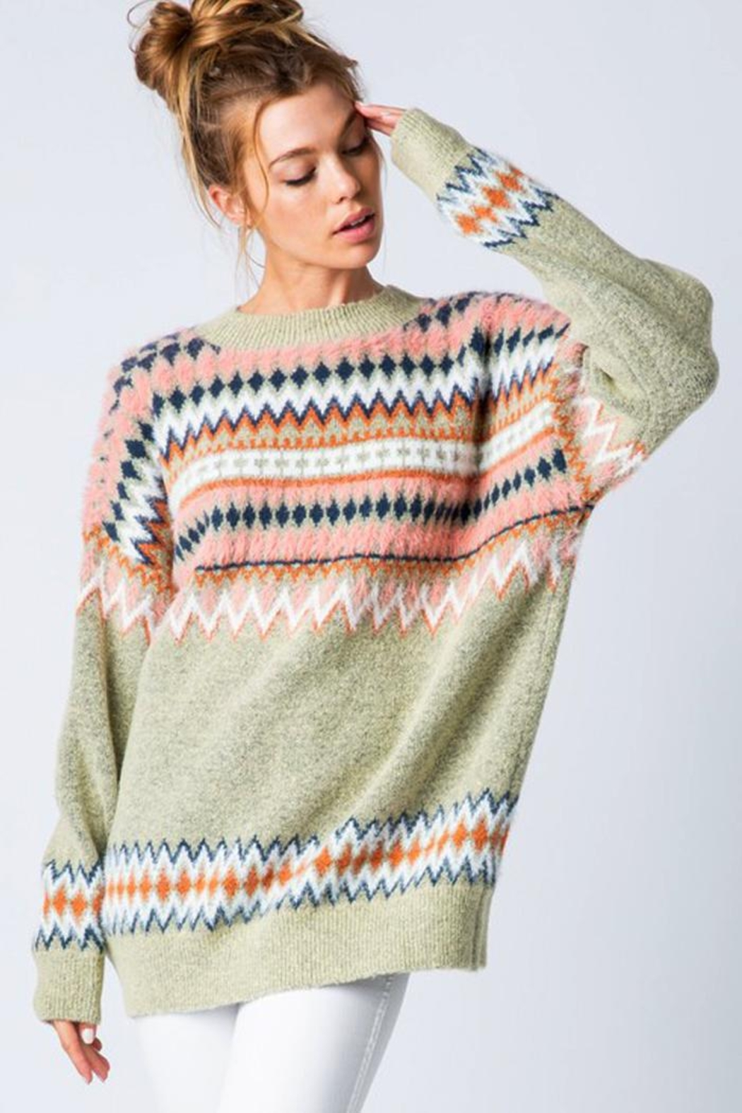 &merci Fair Isle Chunky Knit Sweater Jumper - Front Cropped Image