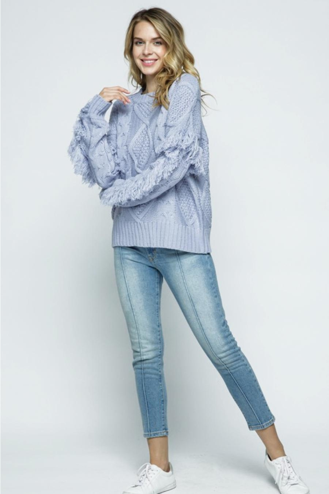 &merci Fringe Sleeve Cable Knit Sweater - Side Cropped Image