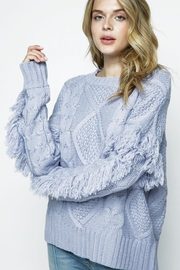 &merci Fringe Sleeve Cable Knit Sweater - Product Mini Image