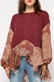 &merci Knit & Paisley Print Chiffon Mixed Ruffled Hem Top - Product Mini Image