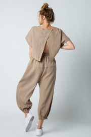 &merci Relaxed Open Back Soft Cotton Gauze Jumpsuit - Back cropped