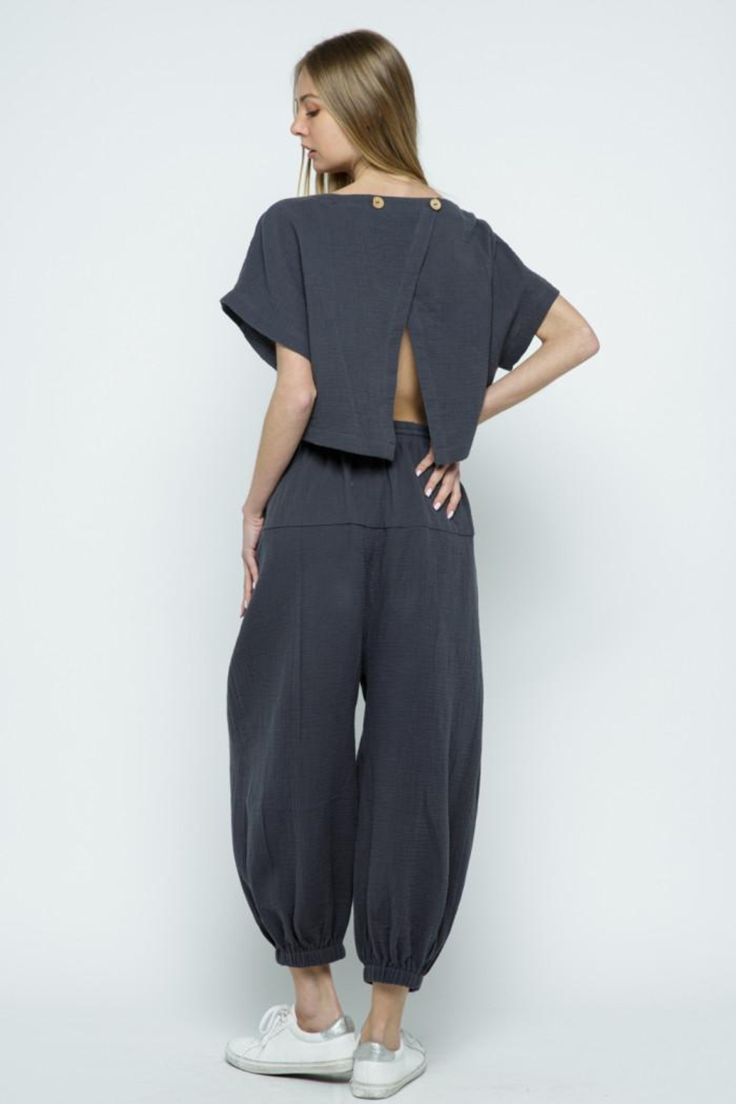 &merci Relaxed Open Back Soft Cotton Gauze Jumpsuit - Front Full Image
