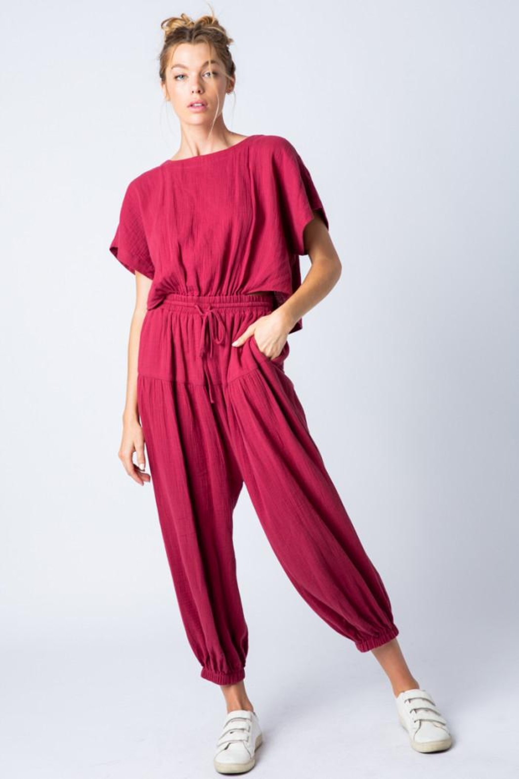 &merci Relaxed Open Back Soft Cotton Gauze Jumpsuit - Front Cropped Image
