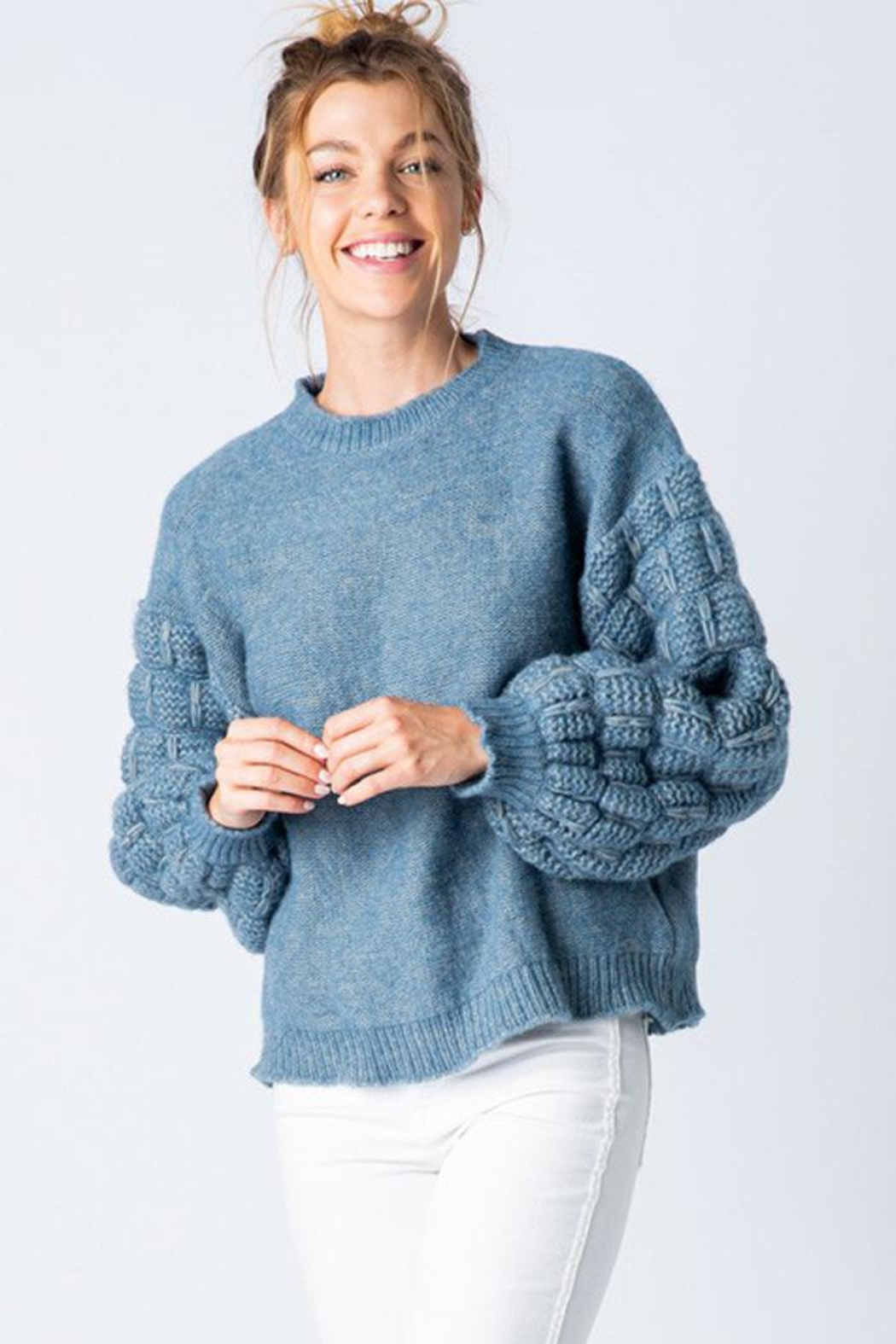 &merci Unique Textured Bubble Sleeve Knit Sweater Jumper - Front Full Image