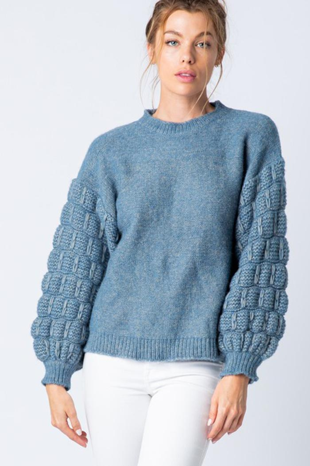&merci Unique Textured Bubble Sleeve Knit Sweater Jumper - Back Cropped Image