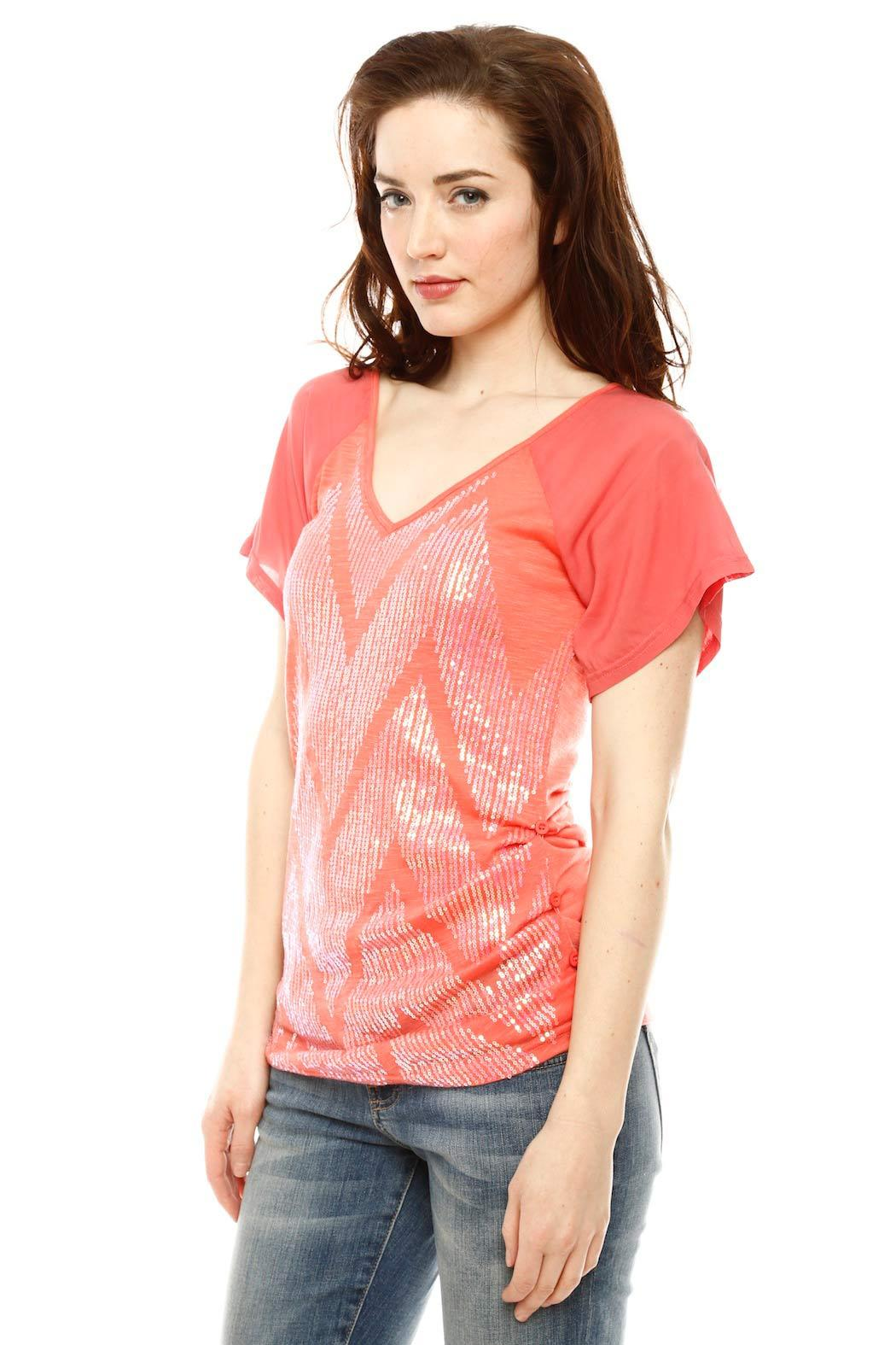 Miss Me Short Sleeve Sequin Top - Side Cropped Image