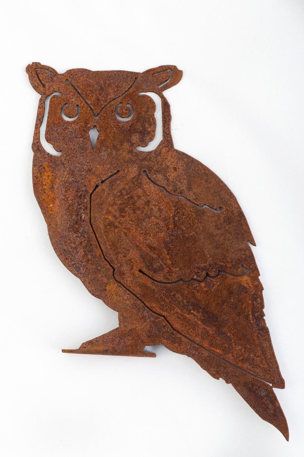 Rusty Birds Screech Owl Art - Front Cropped Image