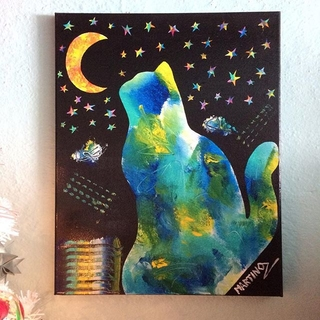 Shoptiques Product: Cat And Moon Painting