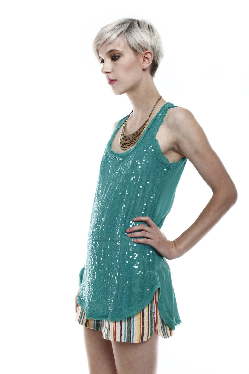 Baci Sequin Tank - Side Cropped Image