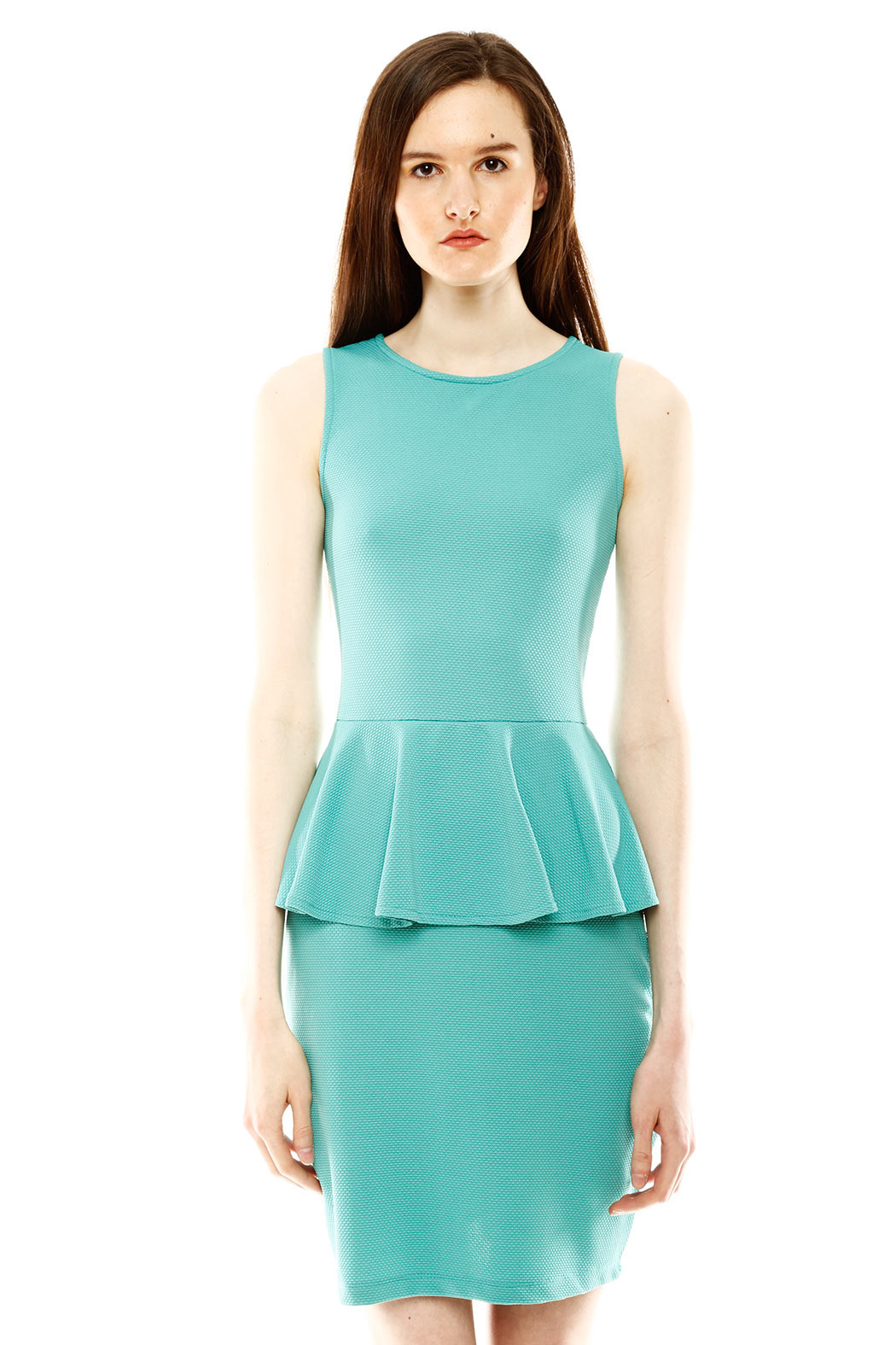 Isle Honeycomb Peplum Dress - Front Full Image