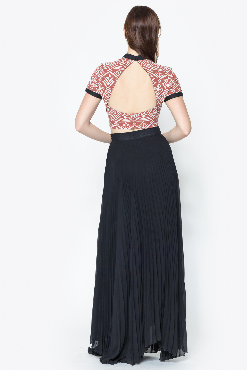 See You Monday Accordian Pleat Maxi Skirt - Side Cropped Image