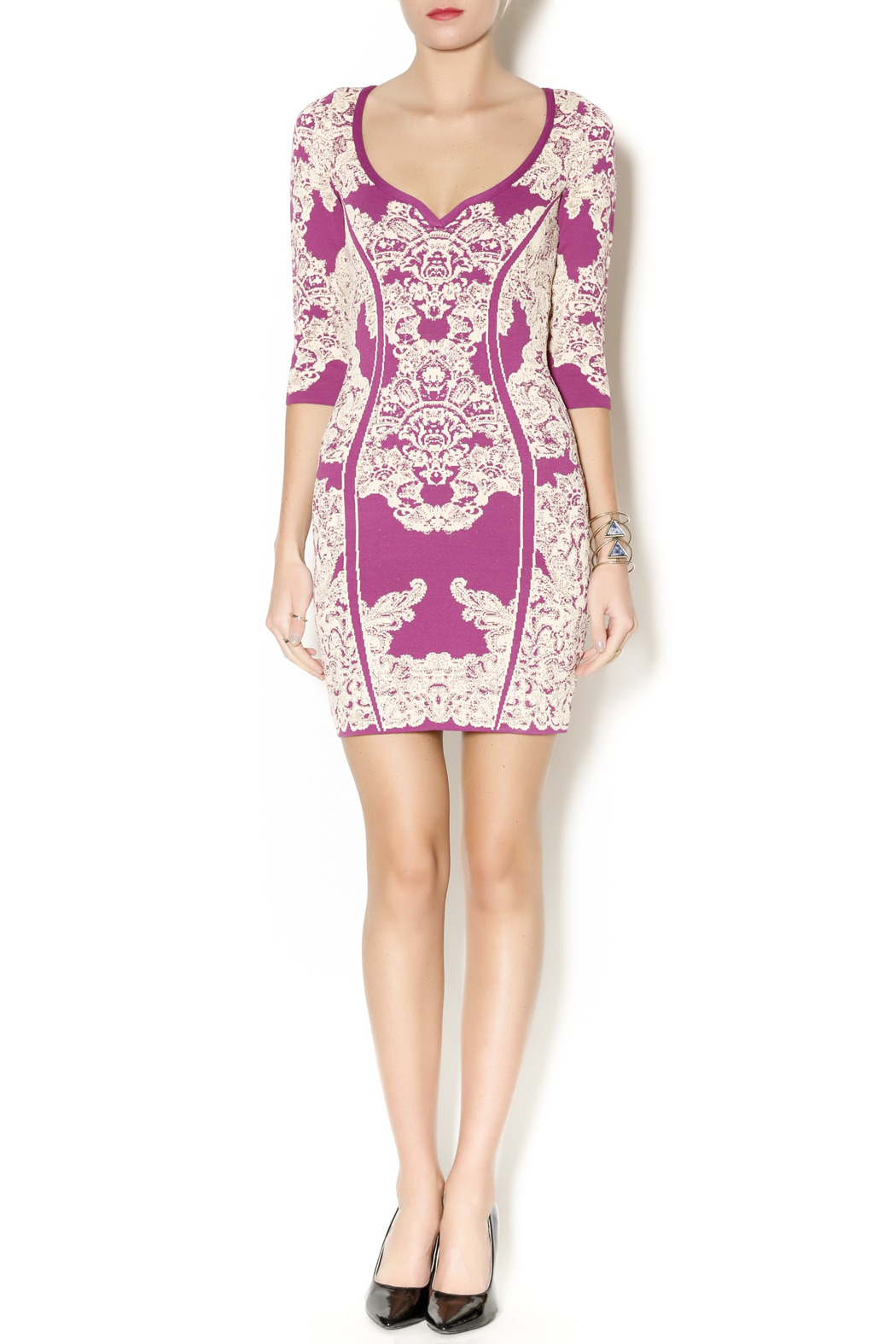 Wow Couture Damask Body Con Dress - Front Full Image