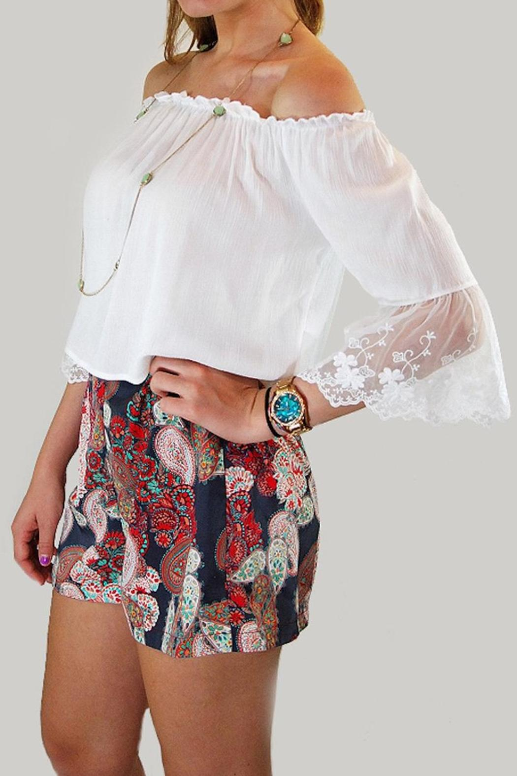 Dex High-Waisted Paisley Shorts - Front Cropped Image