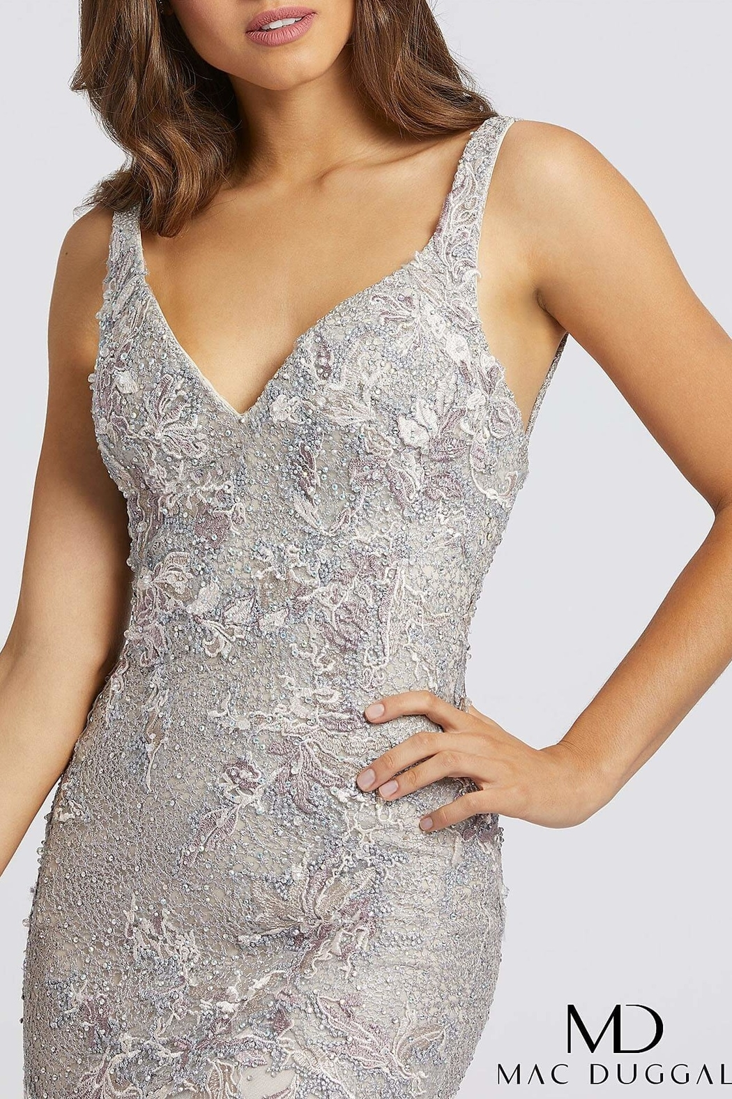 Mac Duggal V Neck Gown - Main Image