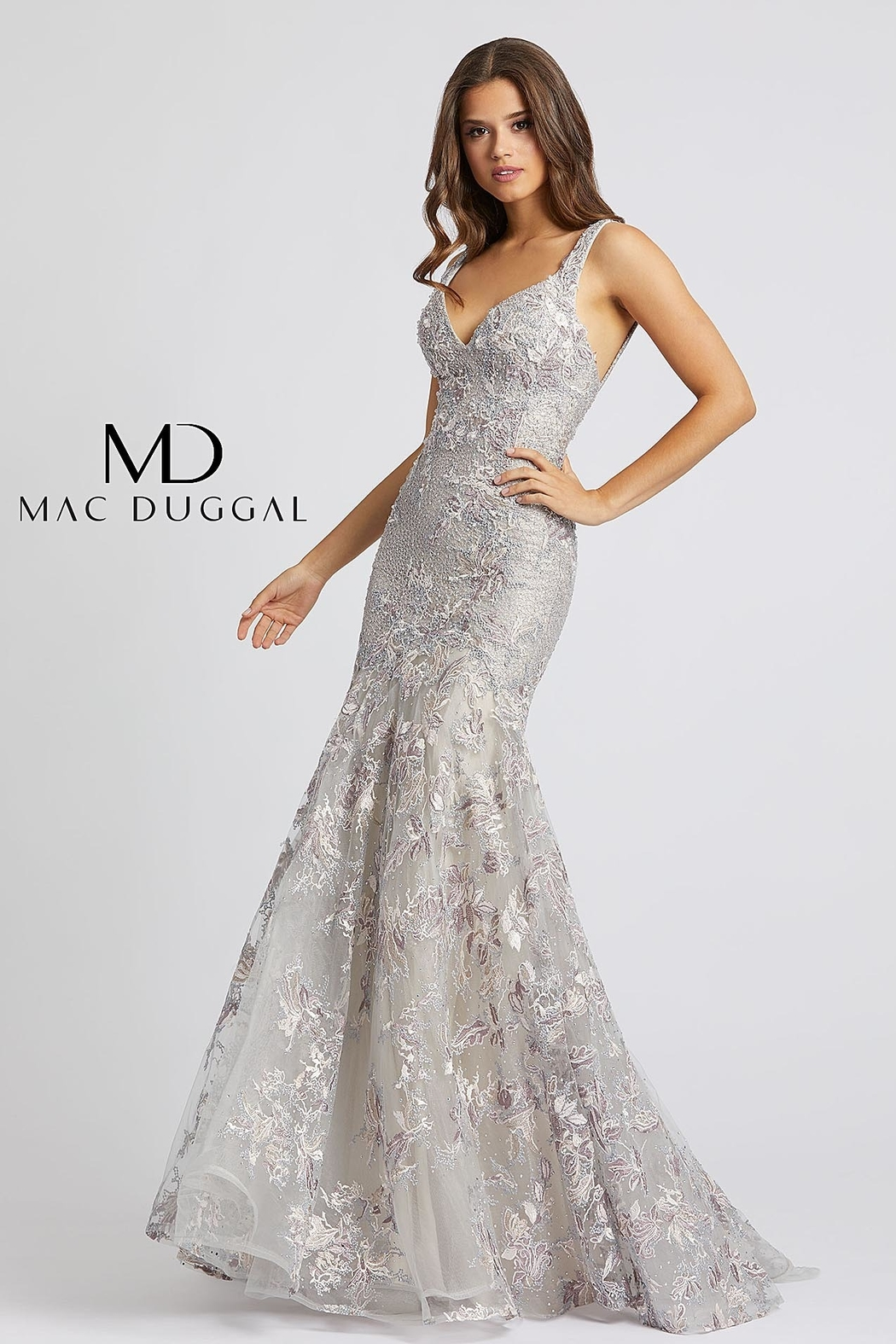 Mac Duggal V Neck Gown - Front Cropped Image