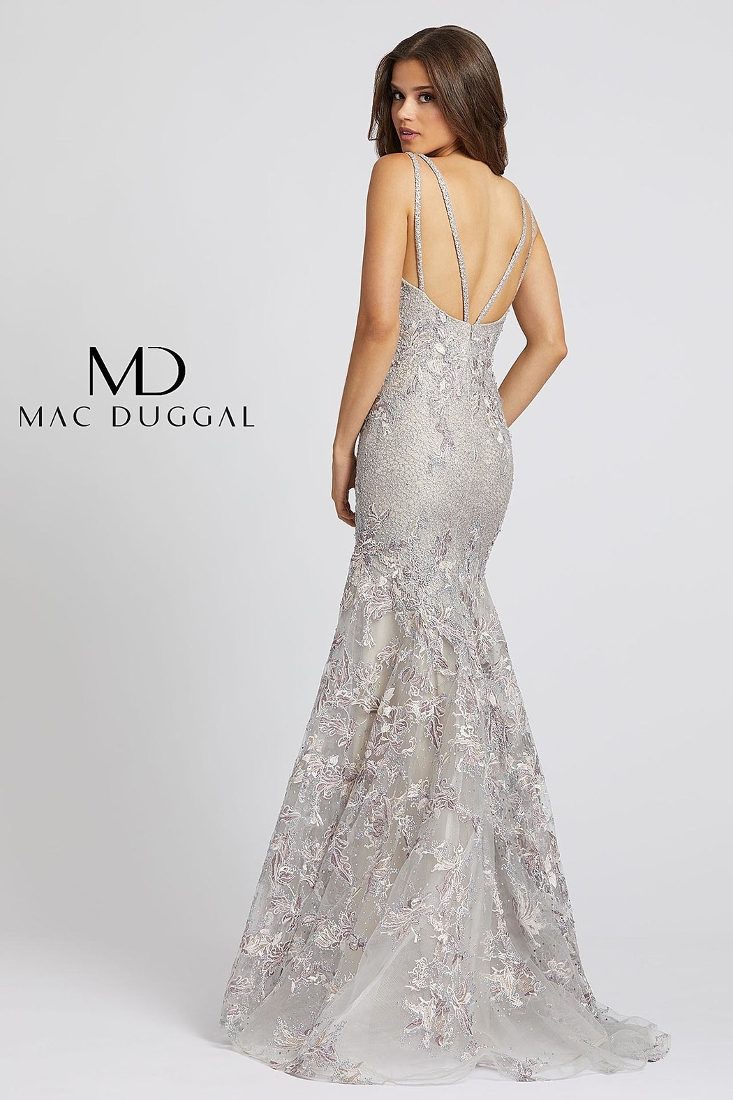 Mac Duggal V Neck Gown - Front Full Image