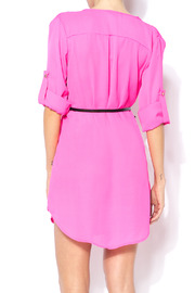 Shoptiques Product: Loose Belted Shirt Dress - Back cropped