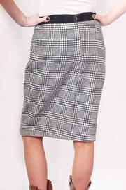 Miss Finch B/w Hounds-Tooth Skirt - Back cropped