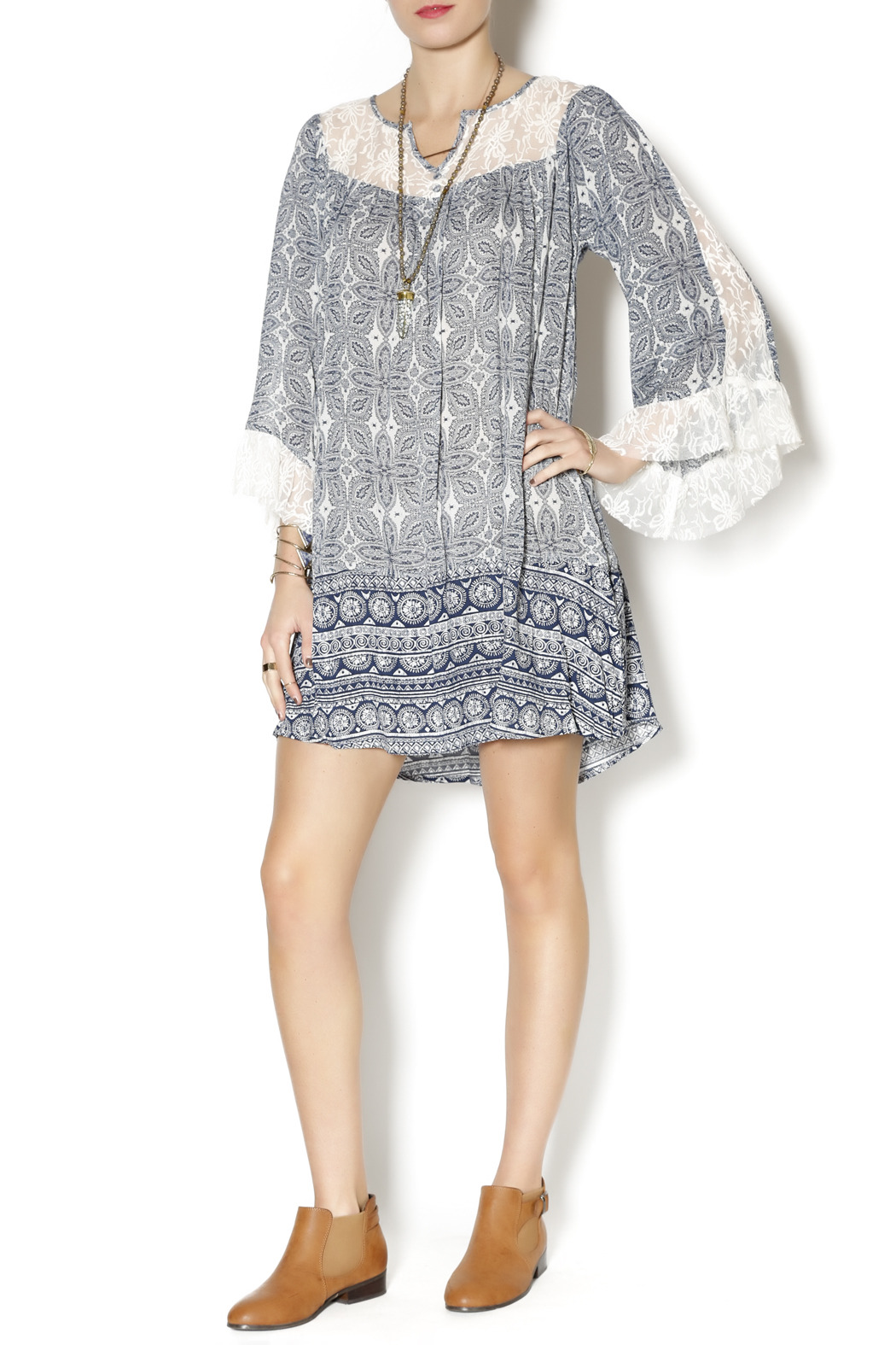 Umgee USA Blue Boho Dress - Front Full Image