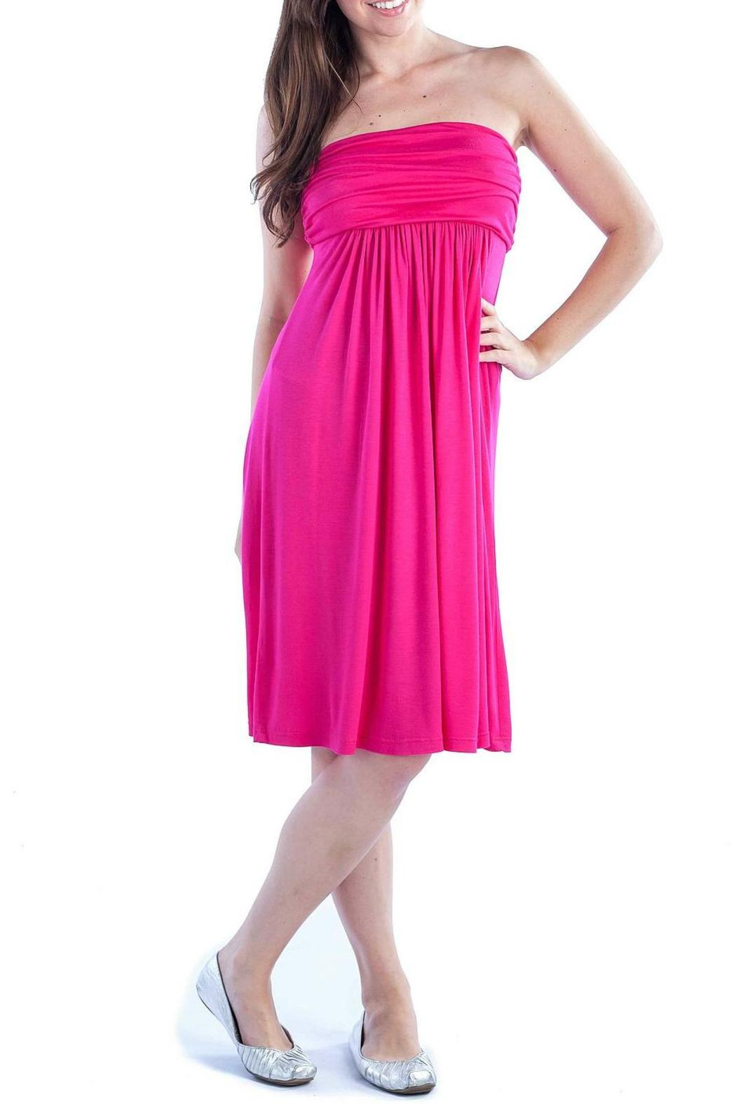 24/7 Comfort Apparel Empire-Tube Strapless Dress - Front Cropped Image