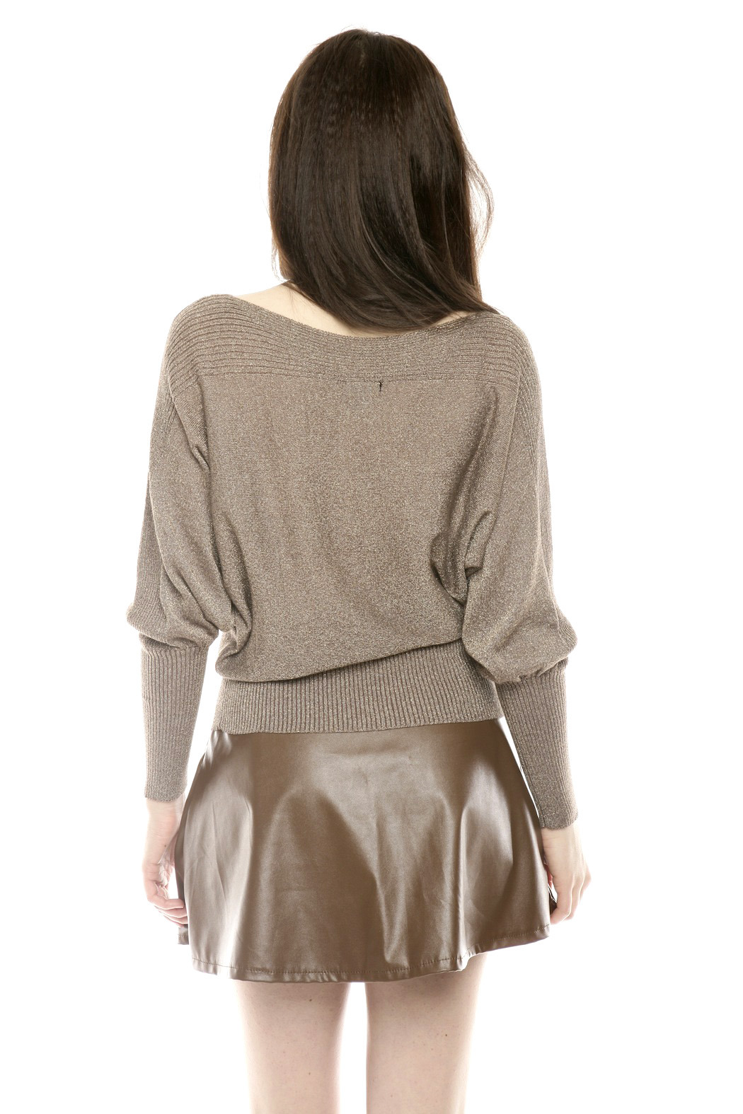 Casting Metallic Scoop-Neck Sweater - Back Cropped Image