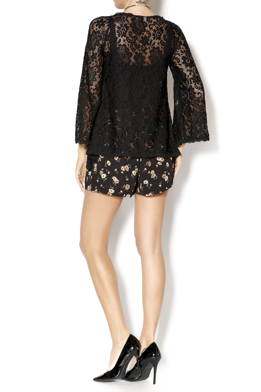 Gina Louise Lace Bell Sleeve Top - Side Cropped Image