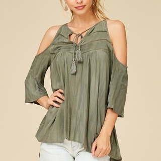 Shoptiques Product: Olive Cold Shoulder Top