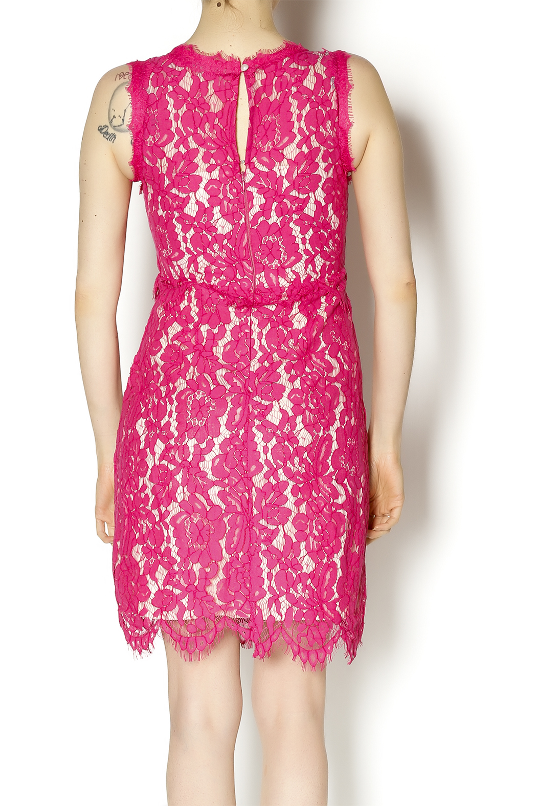 Darling Pink Lace Dress - Back Cropped Image