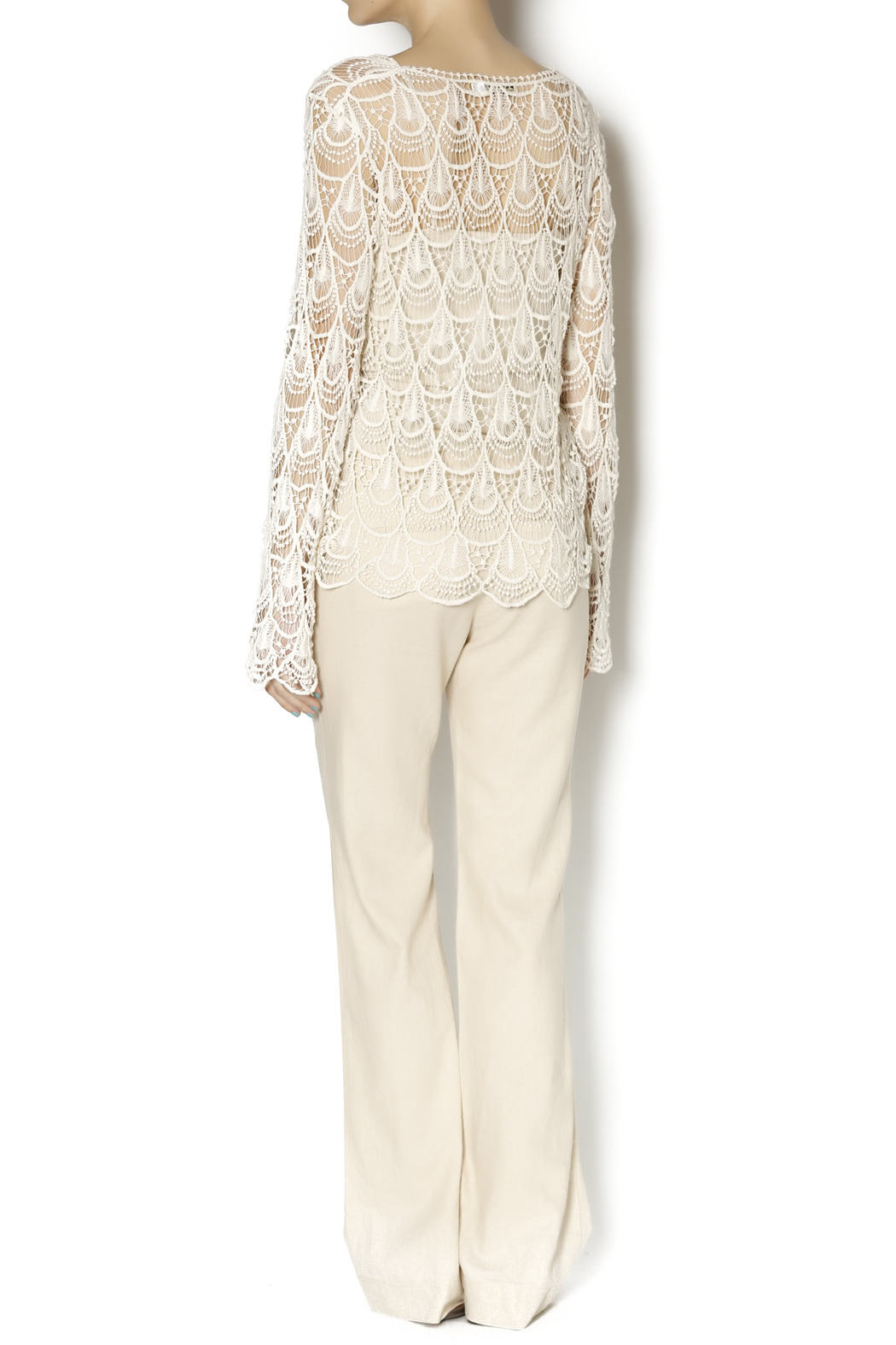 Moon River Crochet Tie Front Tunic - Side Cropped Image