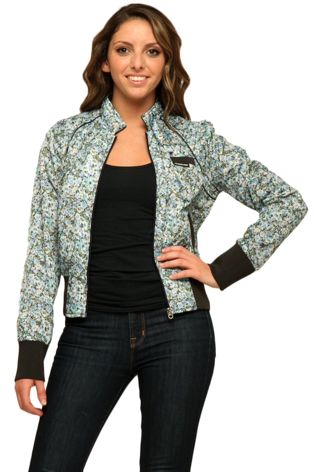 Members Only Floral Cotton Classic Bomber - Front Full Image