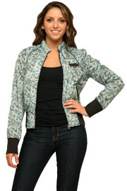 Members Only Floral Cotton Classic Bomber - Front full body