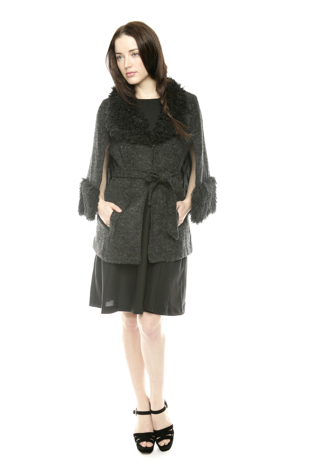 Ravel Furry Boucle Cape - Front Full Image