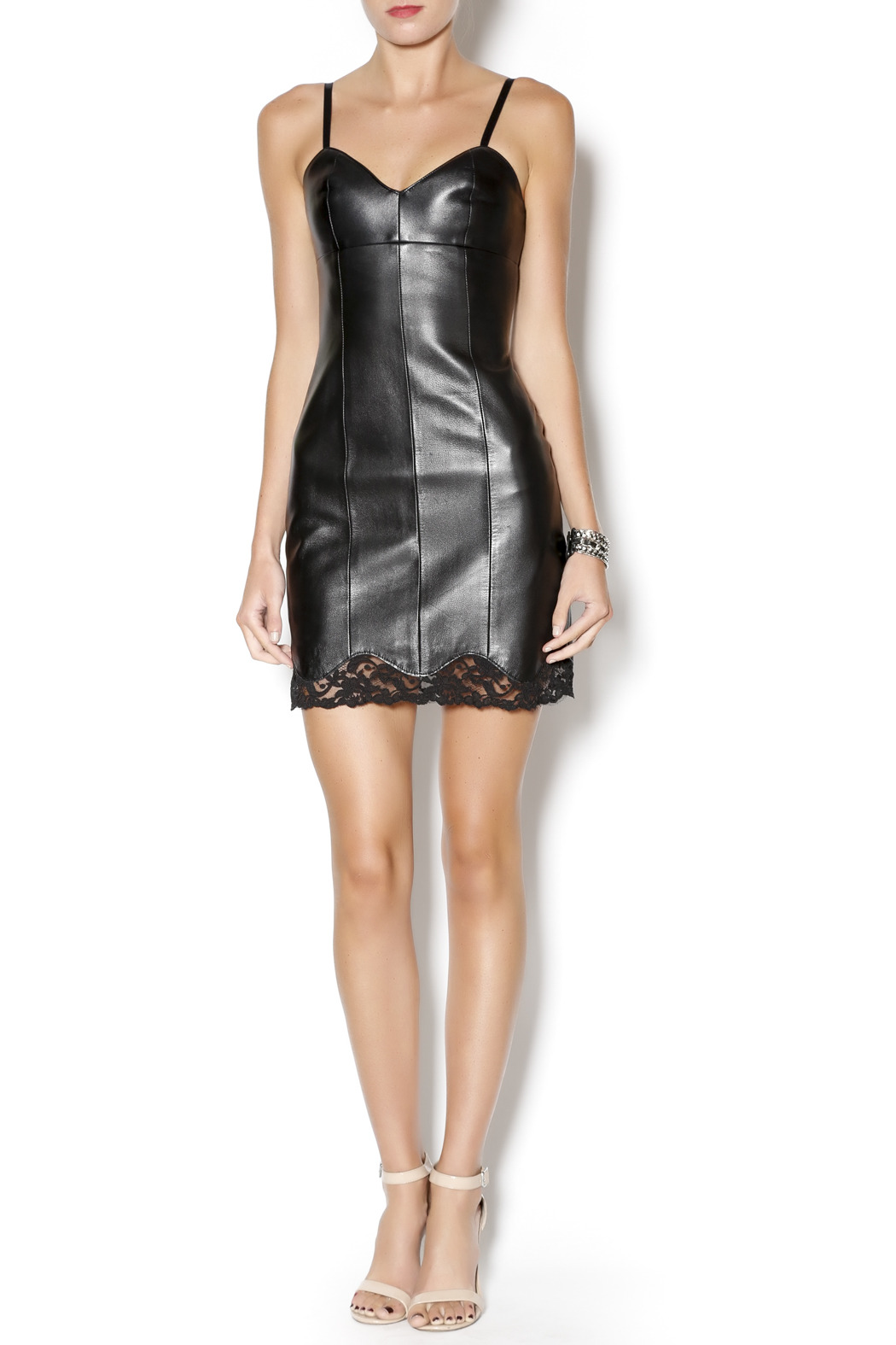 West Coast Leather Sweetheart Lace Leather Dress - Front Full Image