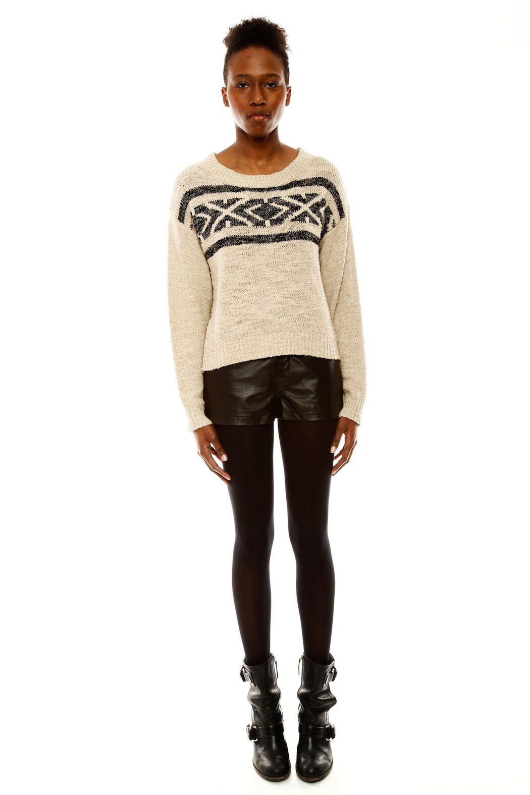 Covet Aztec Cropped Sweater - Front Full Image