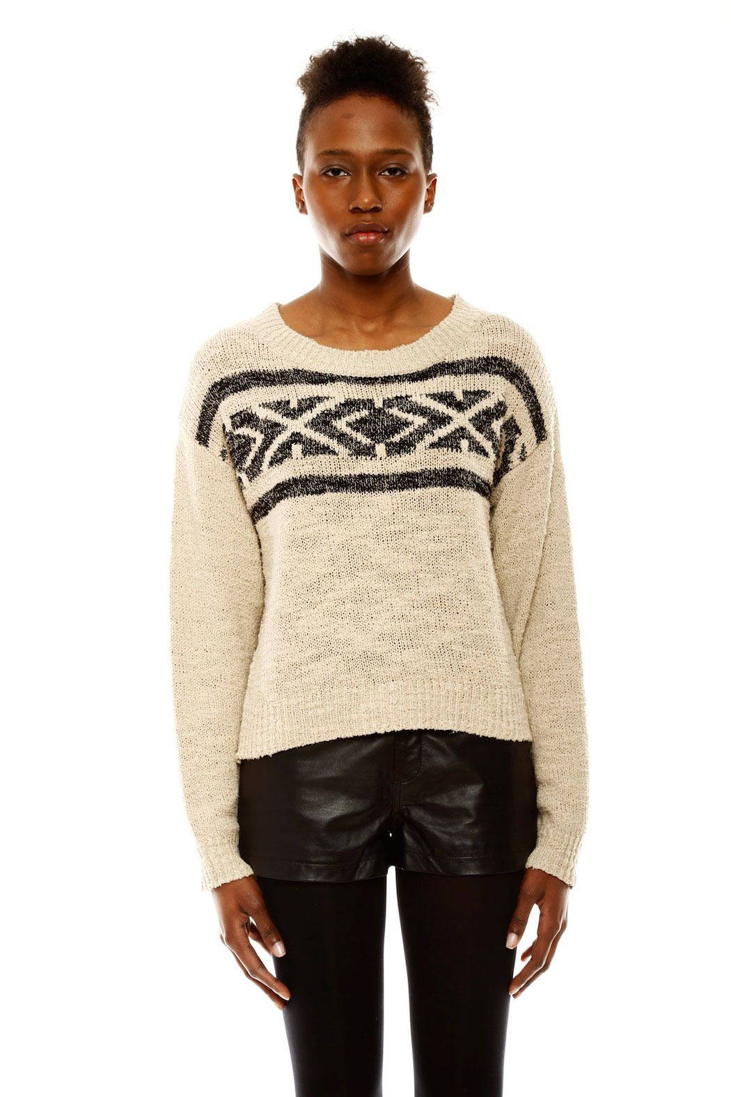 Covet Aztec Cropped Sweater - Main Image