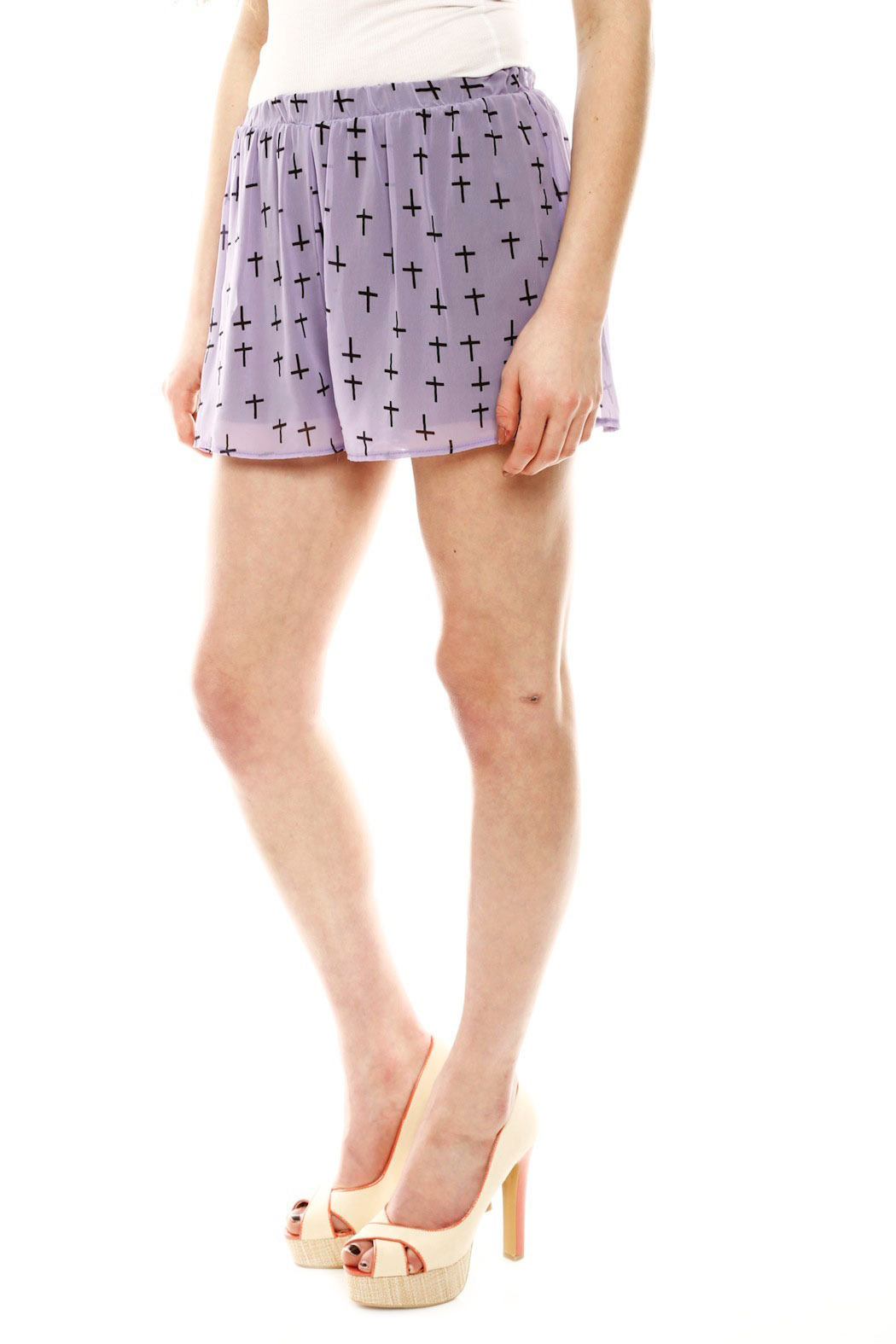 Audrey 3+1 Cross Print Shorts - Side Cropped Image