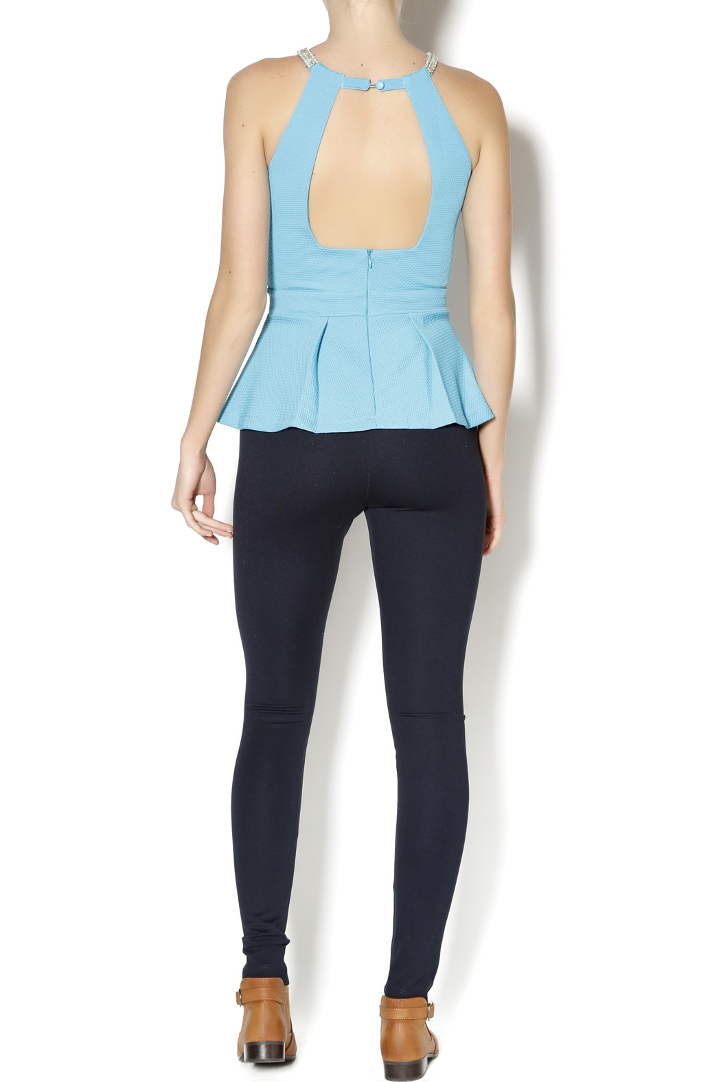 Lyssé Navy Leggings - Side Cropped Image