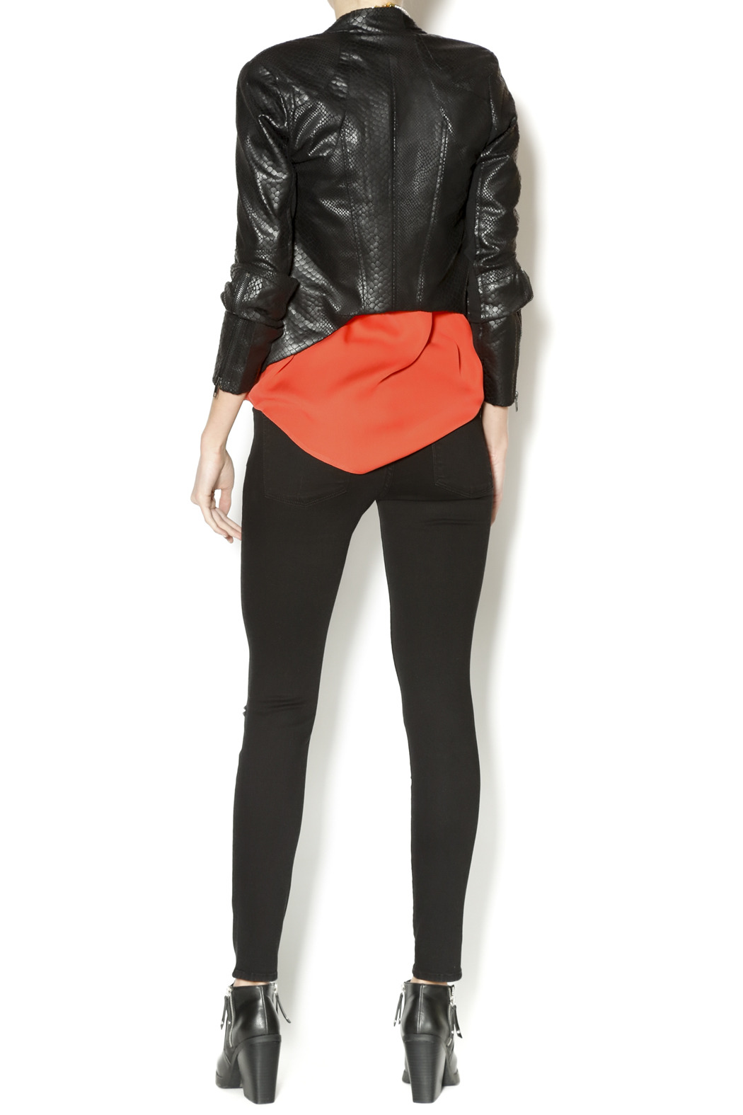 Olivaceous Snakeskin Leather Jacket - Side Cropped Image