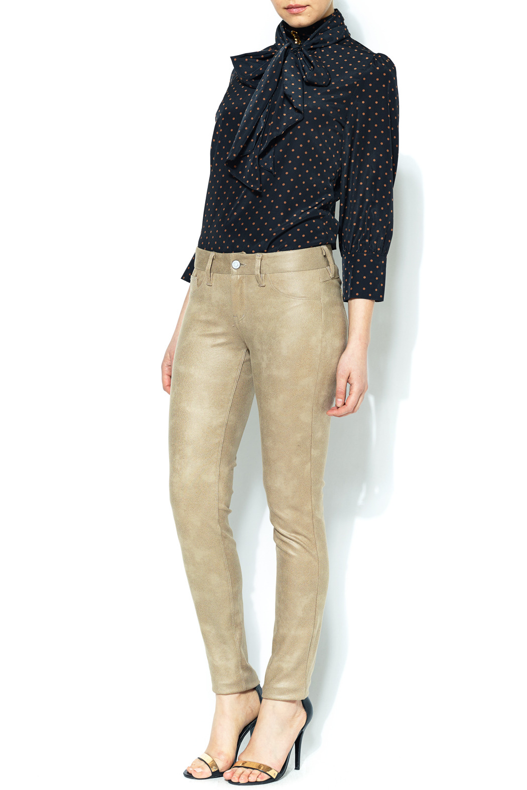 SOLD Faux Suede Skinny Pant - Front Full Image
